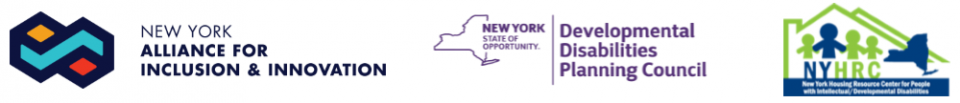 Three logos of partners - NY Alliance, NYS DDPC & NYHRC